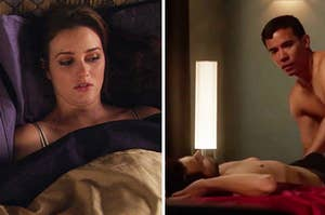 """Blair from """"Gossip Girl"""" lying under bedsheets uncomfortably and Connor and Oliver from """"How to Get Away with Murder"""" about to sleep together"""