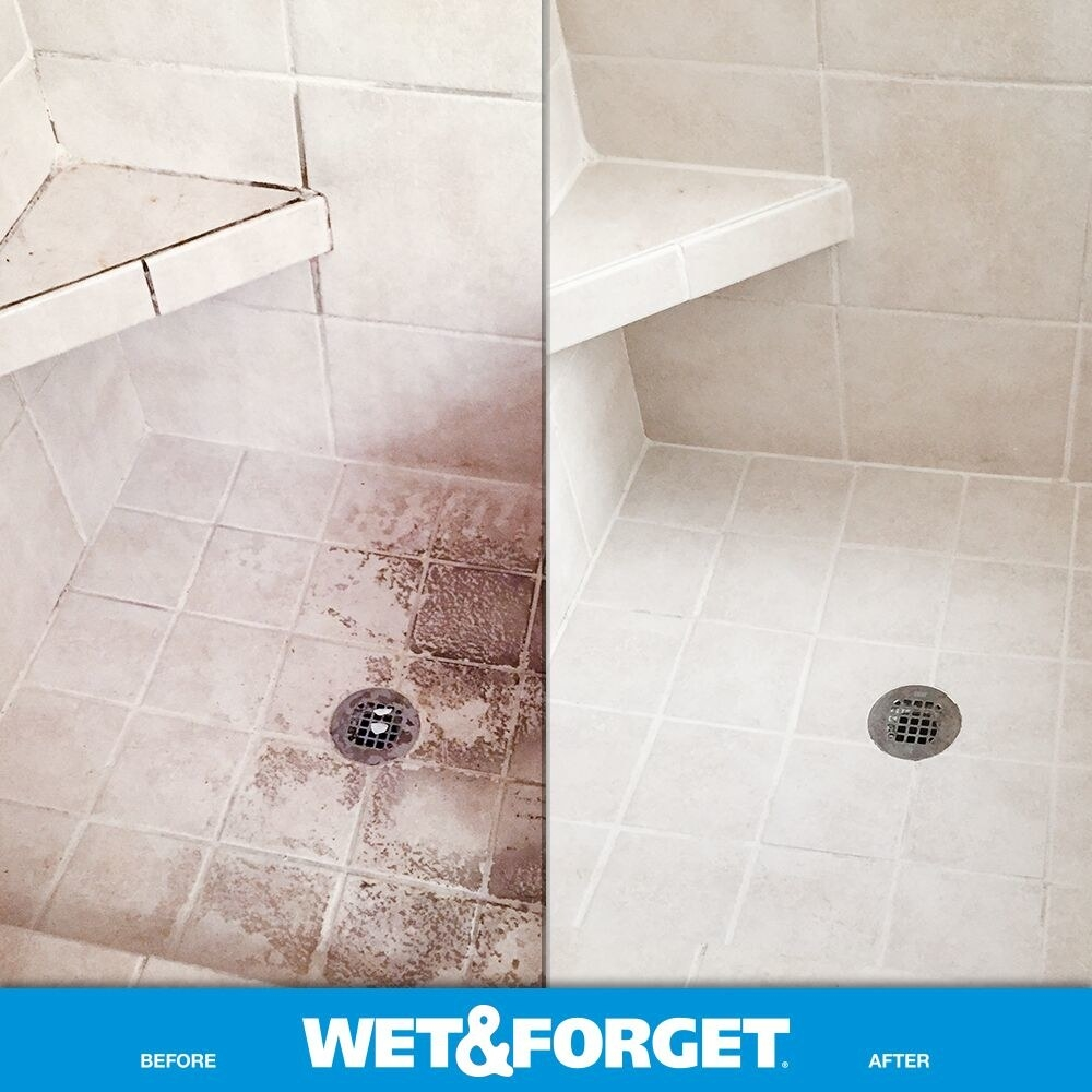 A before photo of a dirty shower and a photo of the same shower after using Wet & Forget
