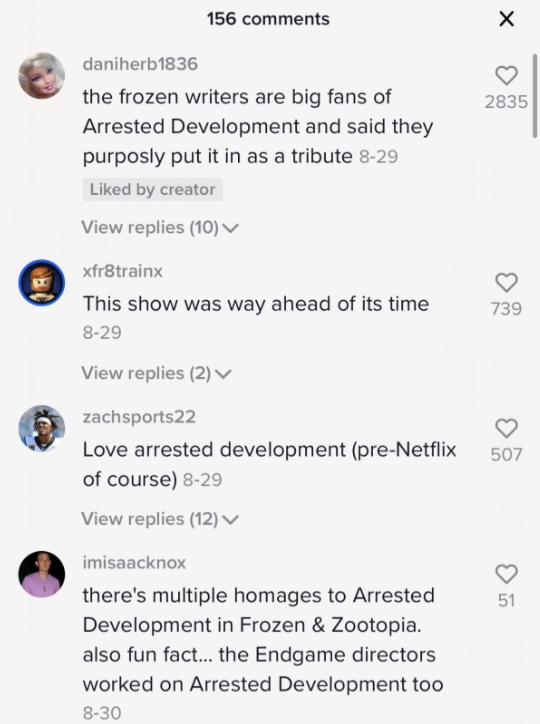Comments saying the writers were fans of the show.
