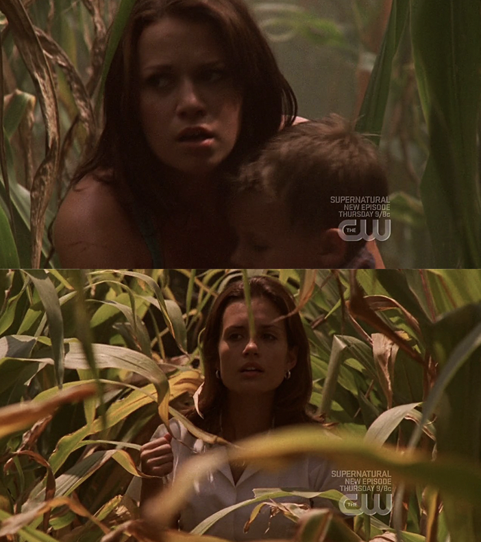 Haley holding Jamie in the cornfields as Carrie chases them with a syringe