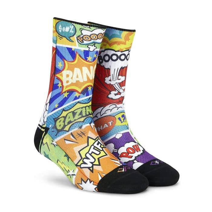 "Socks with ""bang"", ""pow"", ""bazinga"", ""booom"", etc., written on them."
