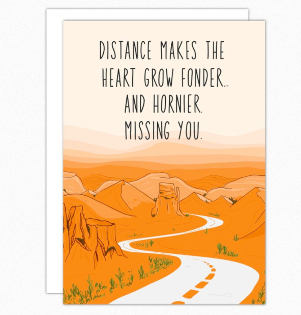 """Card that says """"Distance makes the heart grow fonder, and hornier, missing you"""" with an illustration of a long road going through a canyon"""