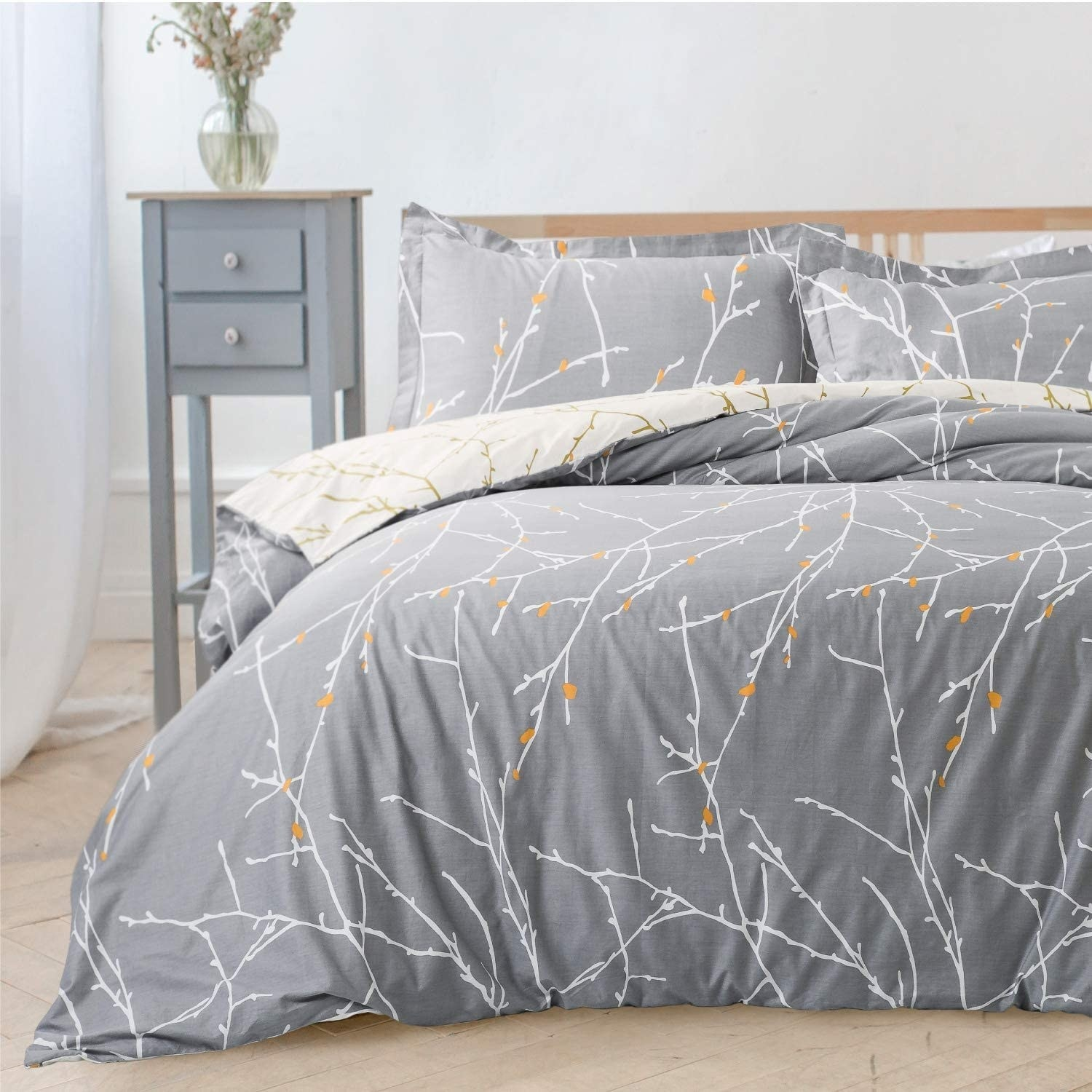 A duvet cover on a bed