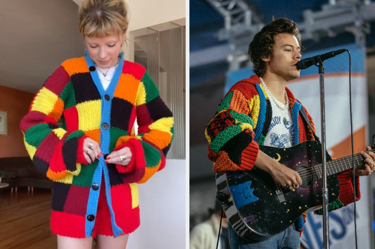 A TikToker wears a DIY colorful sweater similar to the one Harry Styles is wearing during a performance