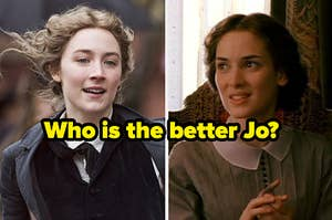 Two images of Saoirse Ronan and Winona Ryder both playing Jo March in the 2019 and 1994 versions of Little Women