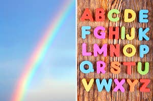 On the left, a rainbow shooting across the sky, and on the right, alphabet magnets