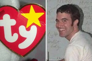 beanie baby tag on the left, tom from myspace on the right