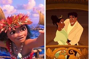 "Side-by-side images of Moana and Tiana and Naveen from ""The Princess and the Frog"""