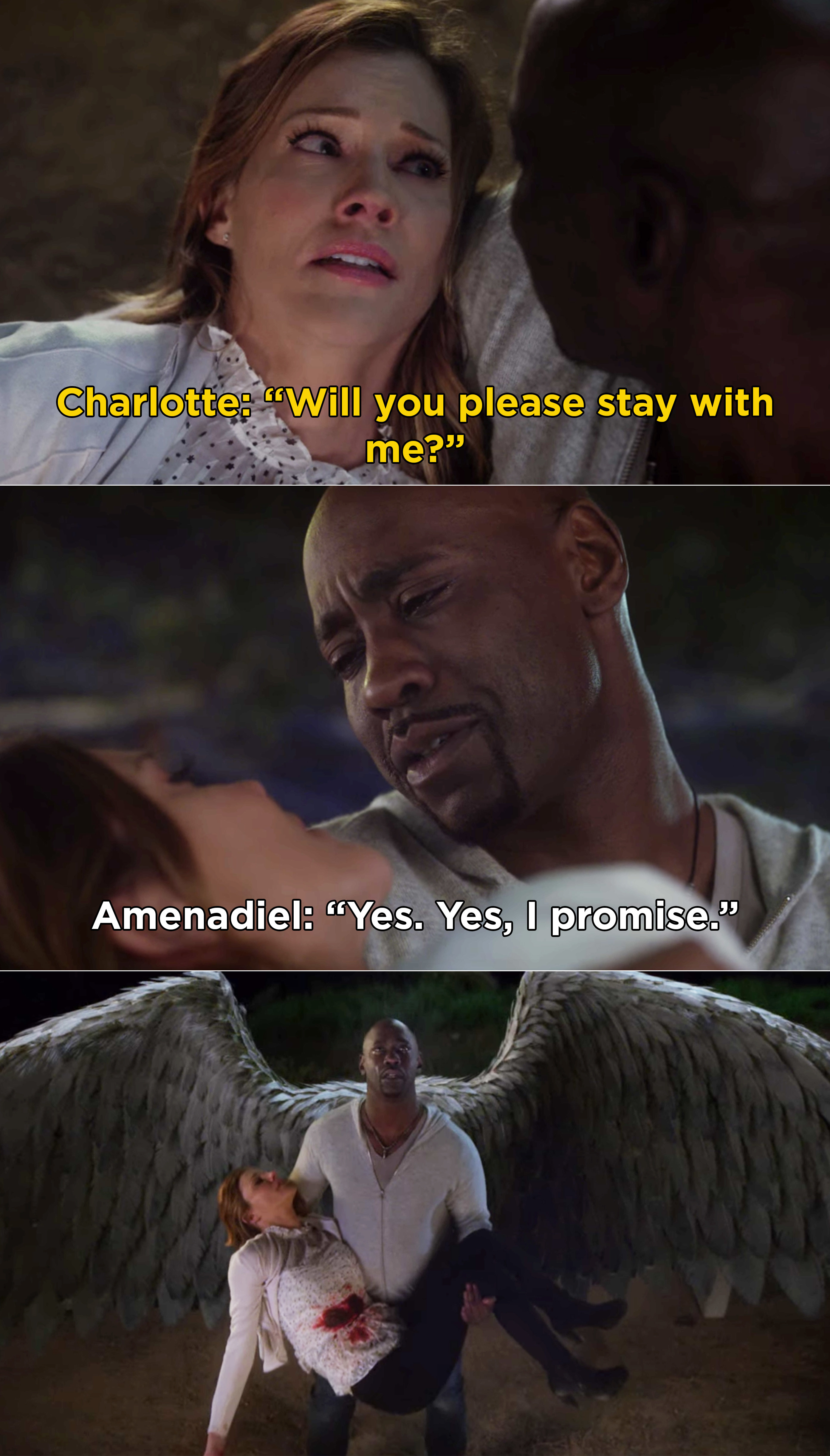 Amenadiel promising to stay with Charlotte