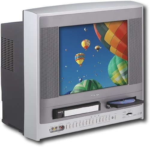 A Toshiba DVD and VCR combo TV  displaying hot air balloons on the screen