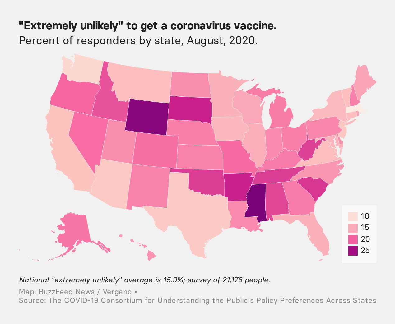 "A map of the US showing in which states people are ""extremely unlikely"" to get a coronavirus vaccine"