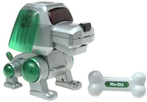 A Poo-Chi robot dog with a green ears and green tail next to his bone