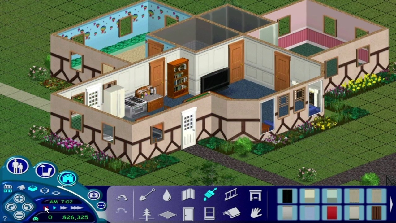 """A screenshot of a house being built on """"The Sims"""""""