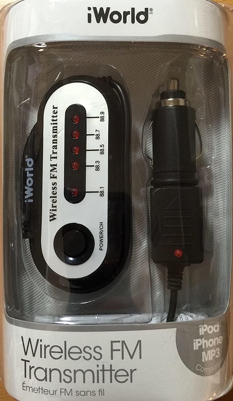 An iWorld wireless FM transmitter still in the packaging