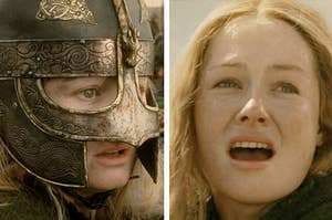 Left: Éowyn wearing her helmet, preparing to go into battle; Right: Éowyn after taking her helmet off to face the Witch-King