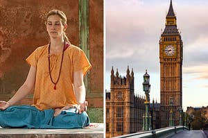 A woman is meditating on the left with a shot of Big Ben in London on the right