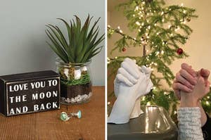 """On the left, block sign that says """"love you to the moon and back"""" next to plant. On the right, couple shows real hands next to white moulded hand sculpture"""