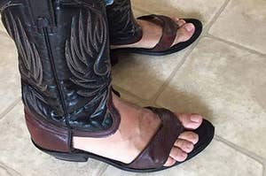 cowboy boots with the front cut out like thongs