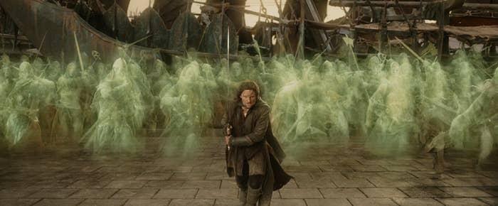 Aragorn charging into battle with the dead men of Dunharrow