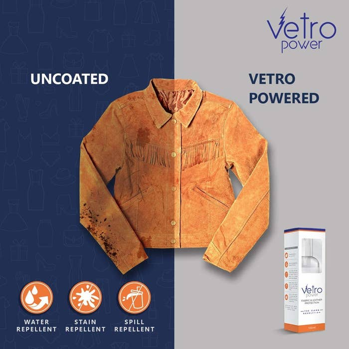 A shirt with one half coated in stain repellent spray that is much cleaner than the uncoated half