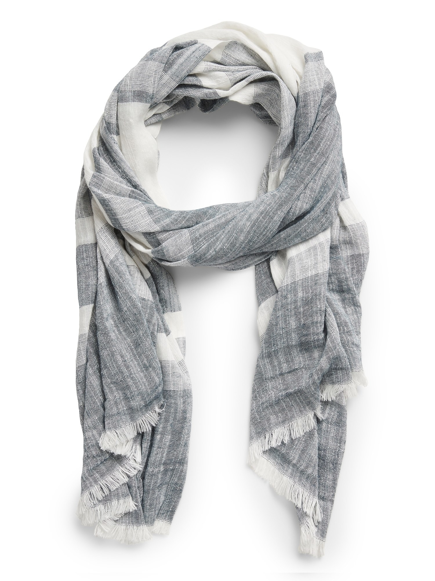 Product photo showing Banana Republic wide stripe scarf in blue shadow