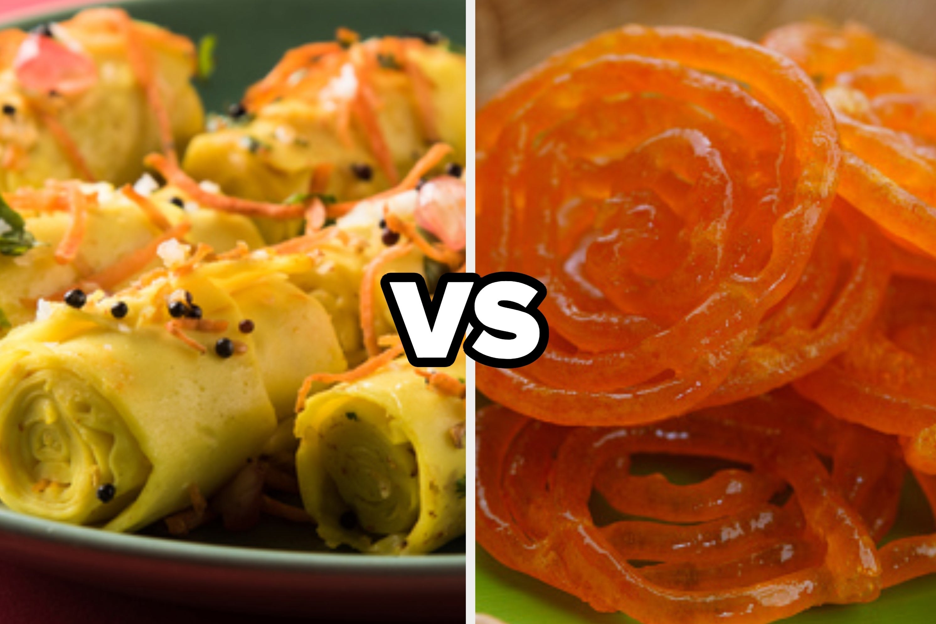 A collage of some khandvi and some jalebis