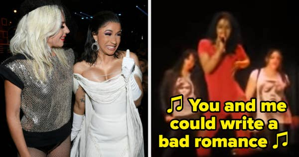 """Cardi B. smiling hard for a picture with Lady Gaga at the Grammys; Cardi B. in high school performing """"Bad Romance"""" at a talent show"""