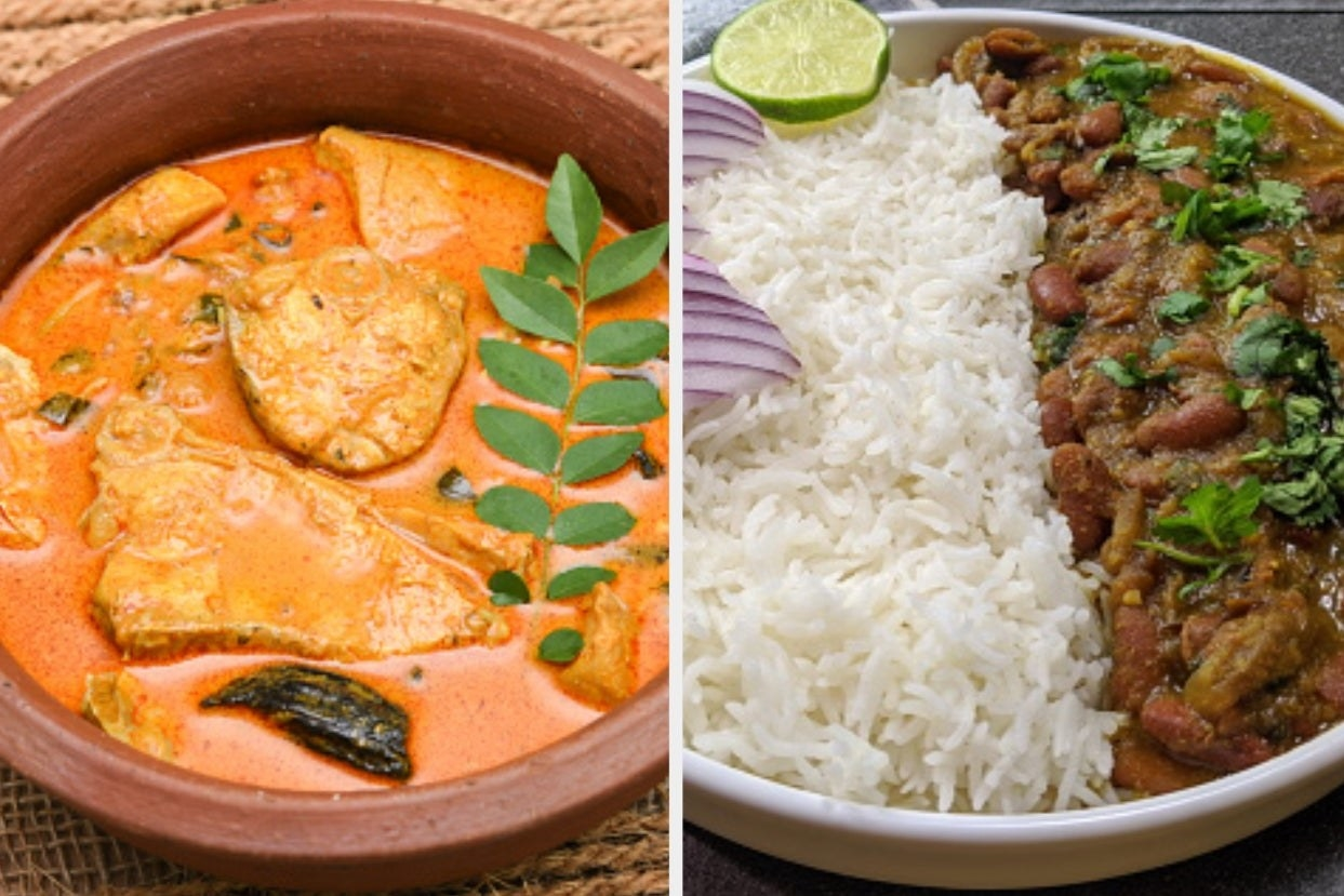 A collage of a bowl of fish curry and some rajma chawal