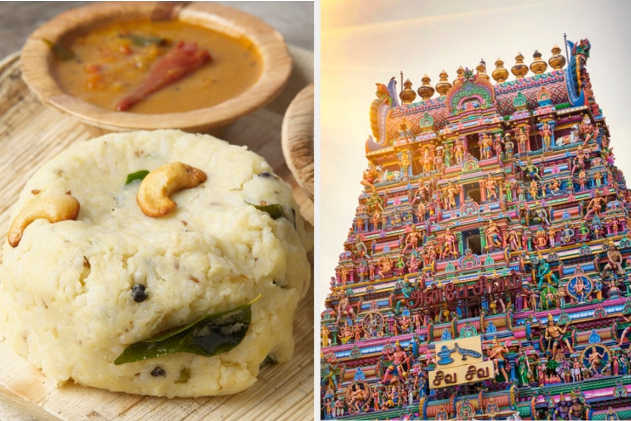 A collage of some pongal along with a colourful temple facade in chennai
