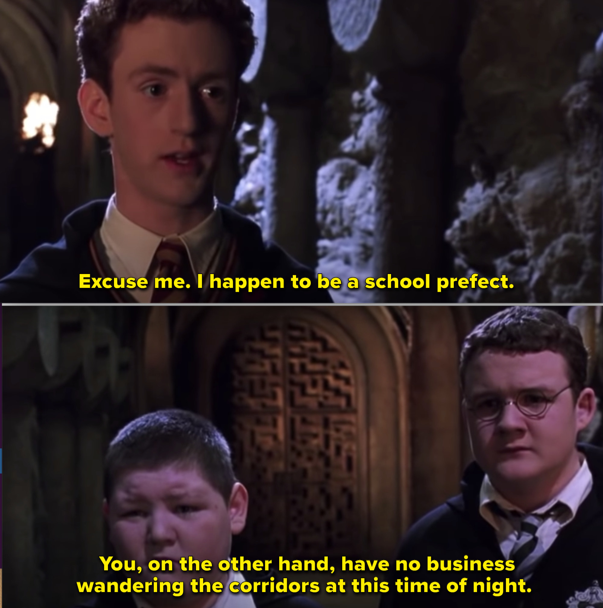 Percy showing his rank in the dungeon at Hogwarts