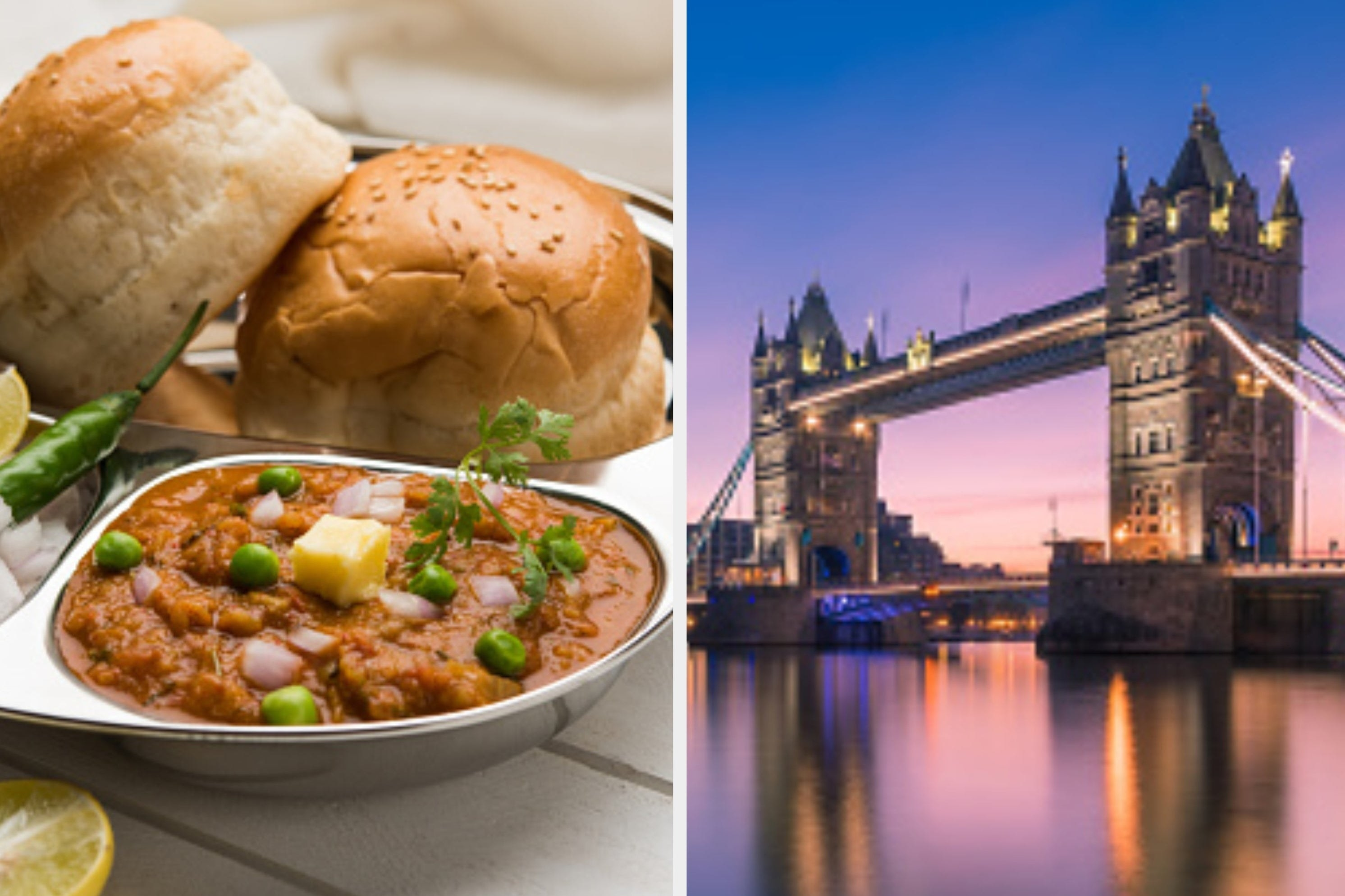A collage of a plate of pav bhaji and the tower bridge in London