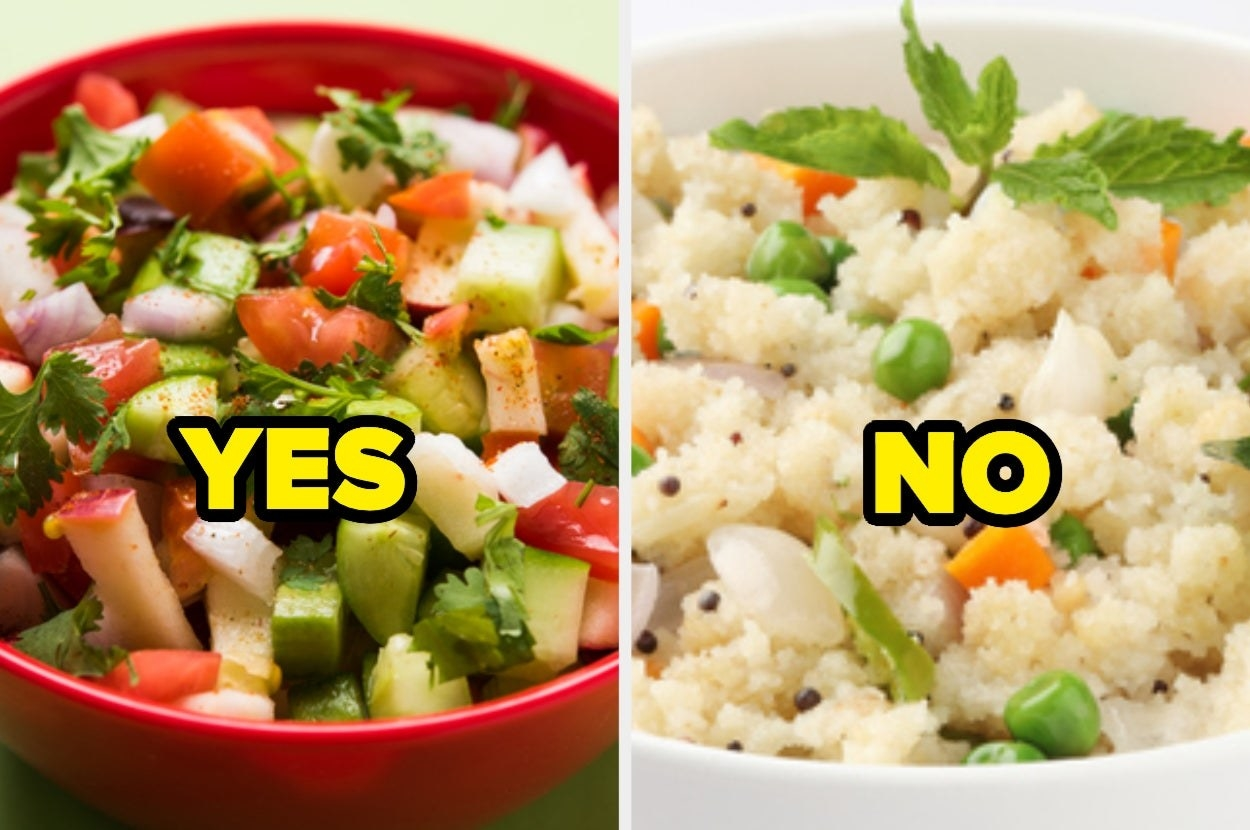 A collage of a bowl of salad and a bowl of upma