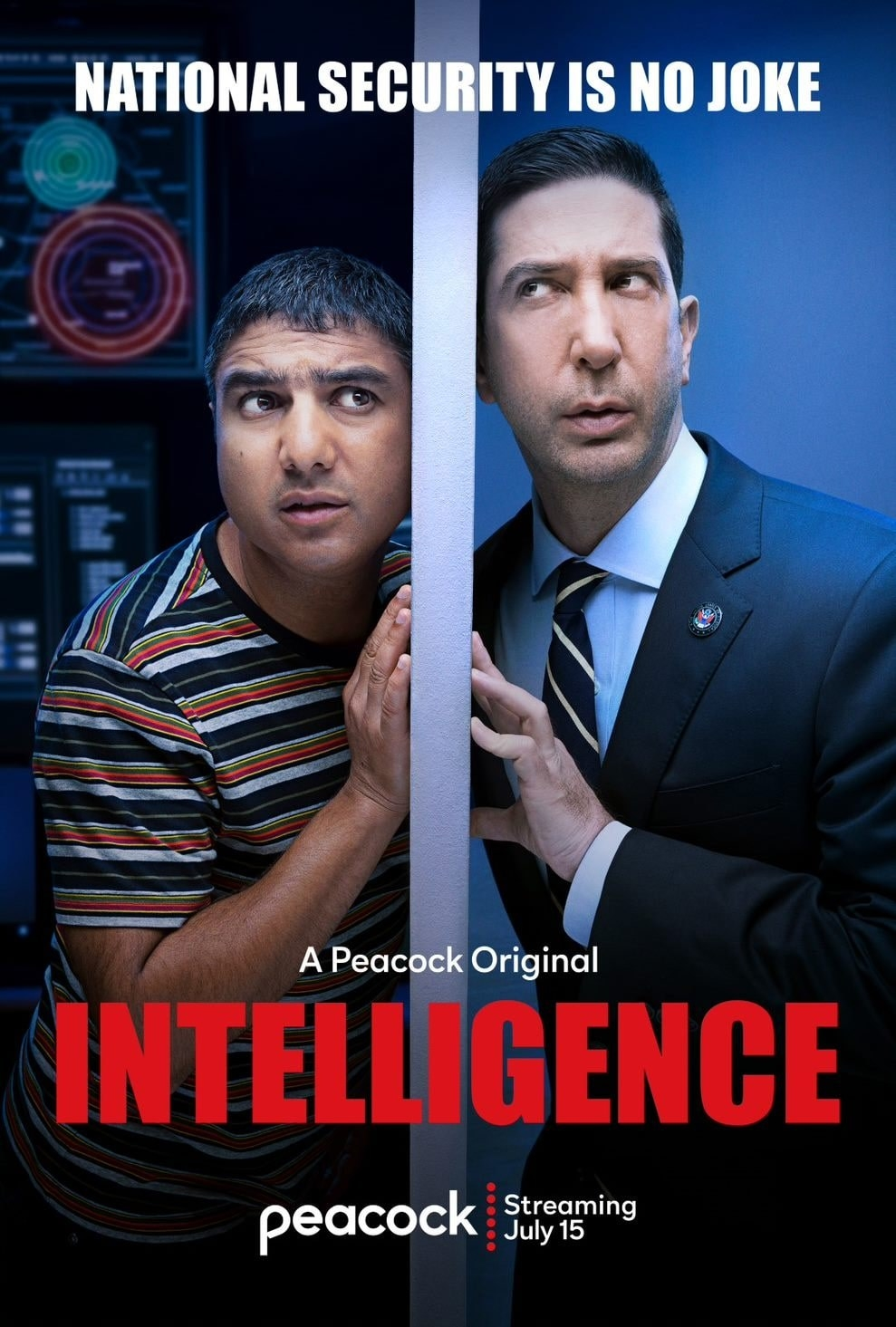 the poster for intelligence showing david schwimmer and Nick Mohammed leaning their ears against a wall