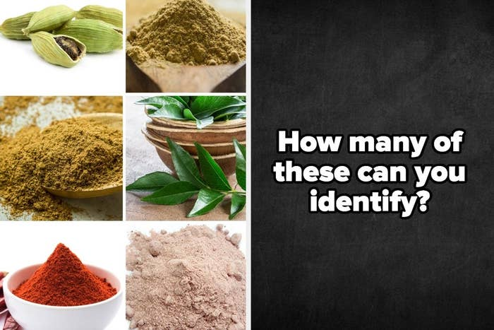 A collage of some indian spices like red chilli powder, cardamon, and garam masala and a blackboard asking people 'how many of these can you identify?'