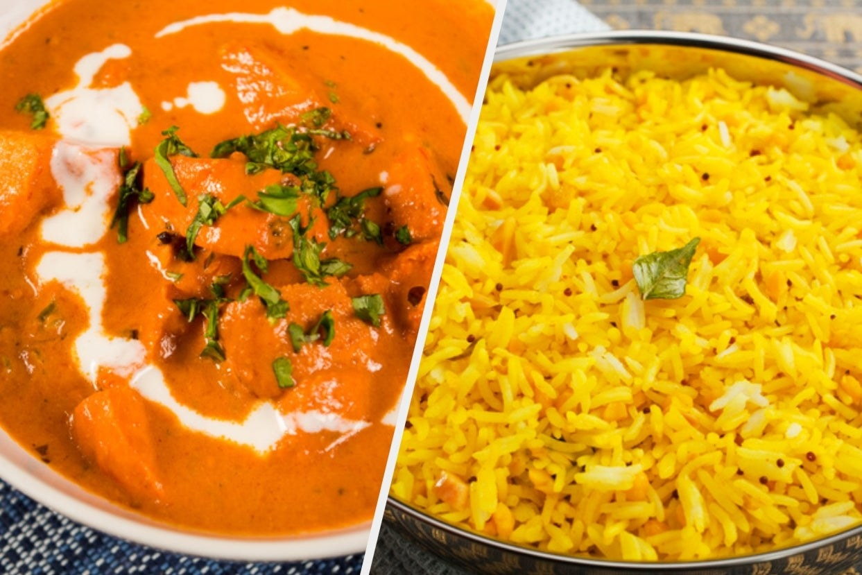 A collage of a bowl of butter chicken and some lemon rice