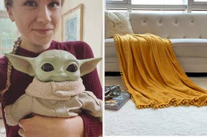 baby yoda doll and blanket