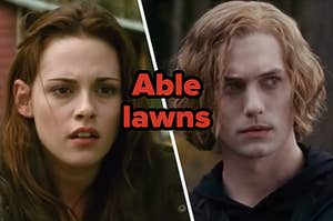 """Bella Swan and Jasper Hale with """"Able lawns"""" written in between"""