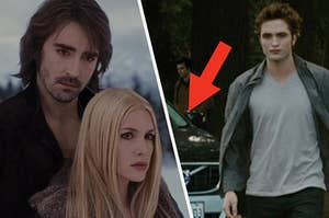 Two vampires from a different coven on the left, and edward walking away from his car on the right