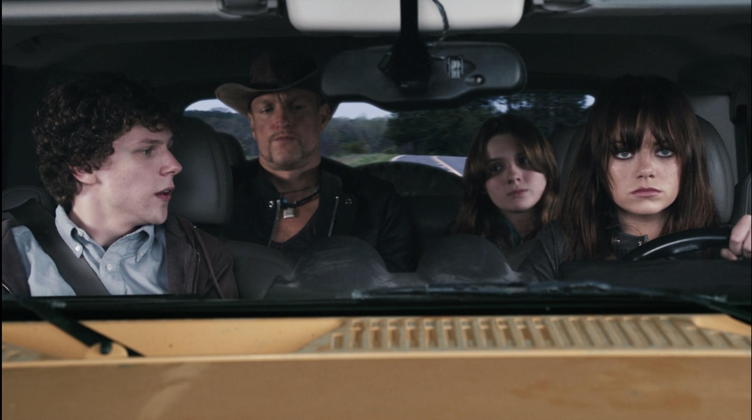 Jesse Eisenberg, Woody Harrelson, Abigail Breslin, and Emma Stone in Zombieland