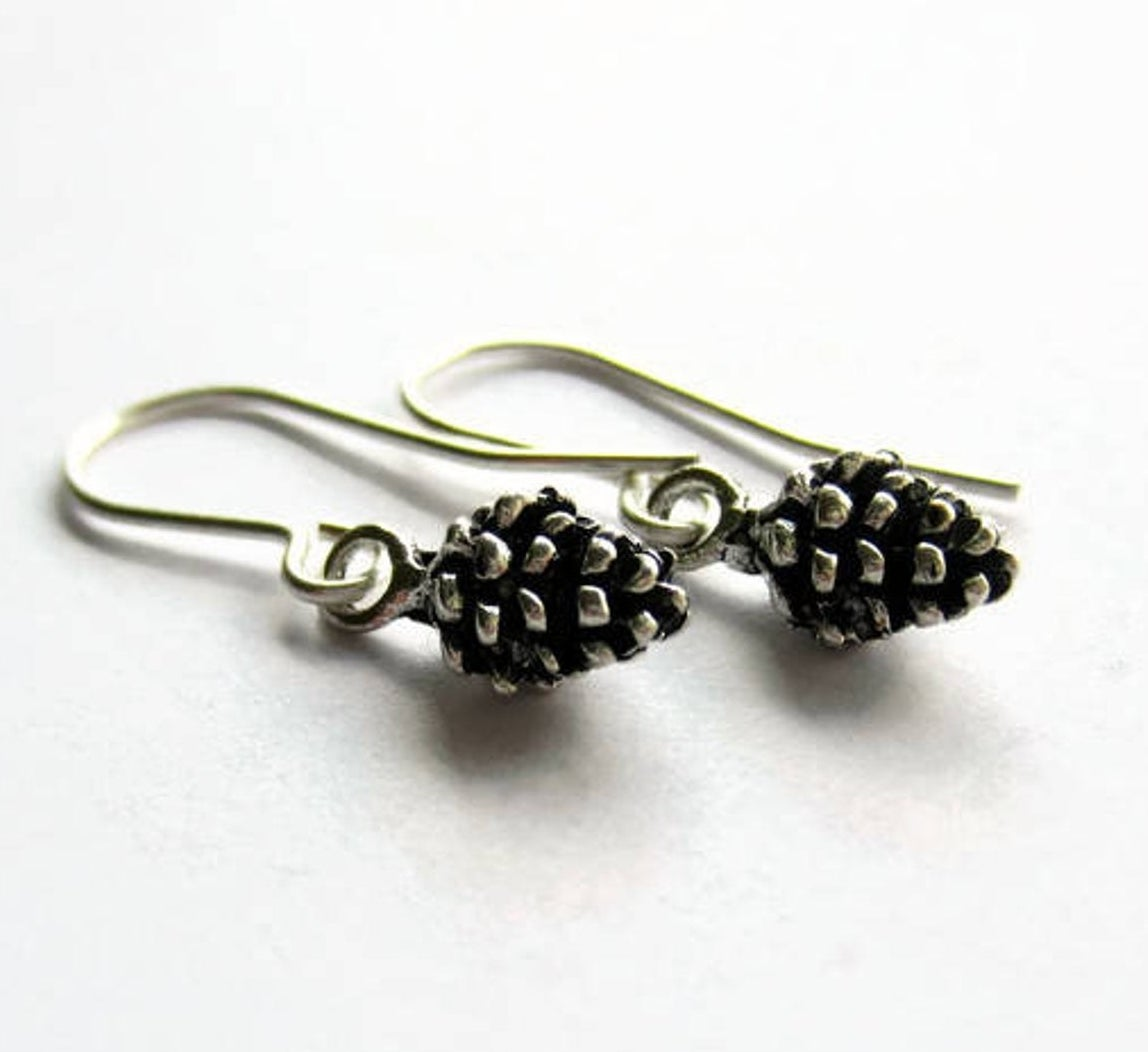 small silver pinecone earrings with J-shaped hooks