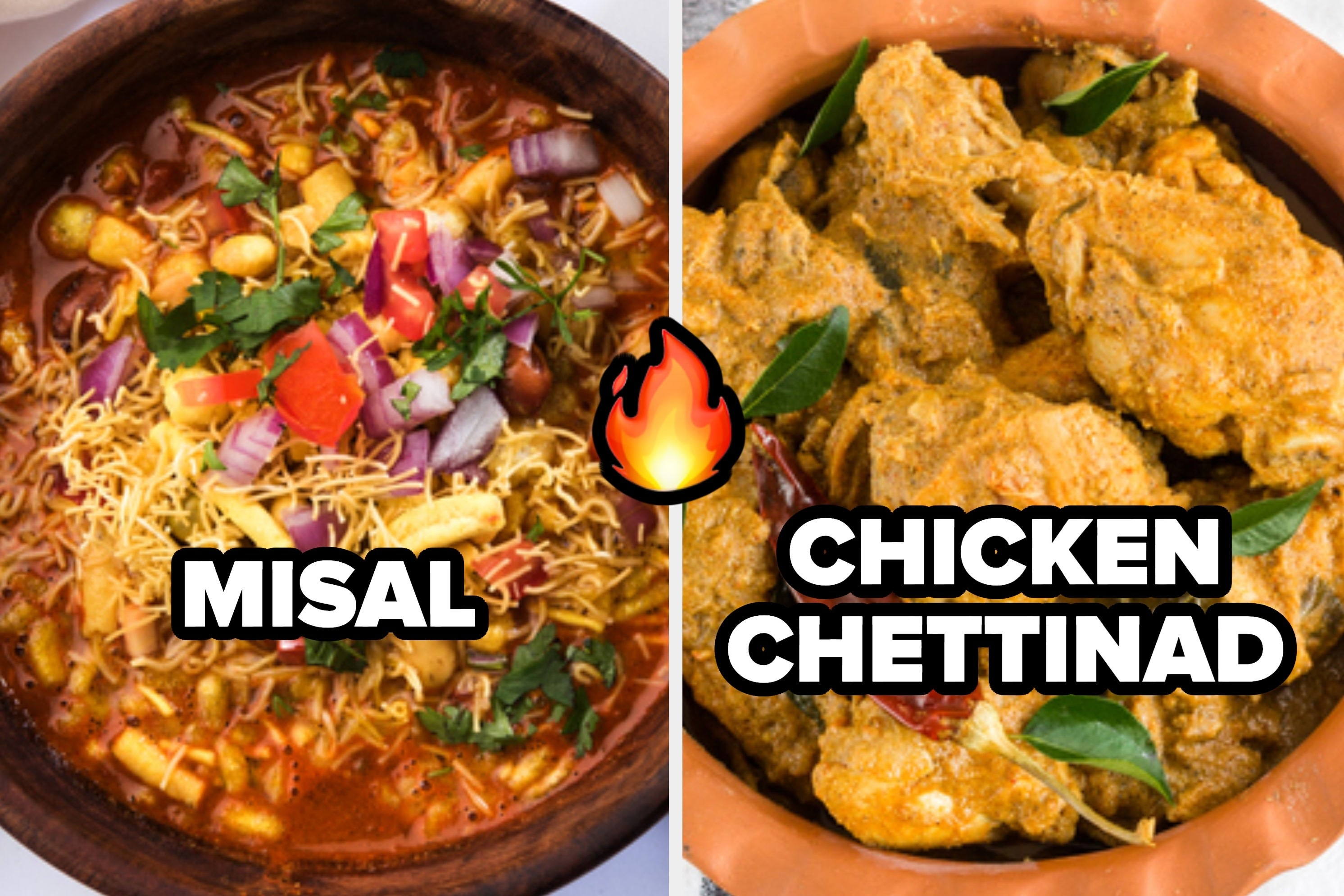 A collage of some misal and a bowl of chicken chettinad