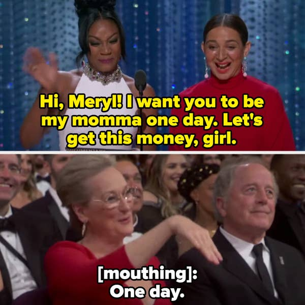 Meryl reassuring Tiffany in the audience that they'll work together one day