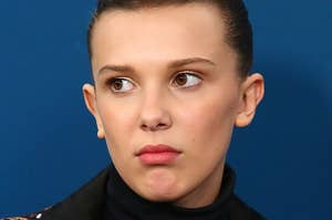 Millie Bobby Brown looking confused