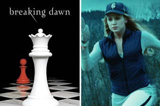 A book cover that says breaking dawn at the top with a chess piece underneath it. On the right a woman is running. She wears a baseball cap over her long hair, and a vest over a long sleeve shirt