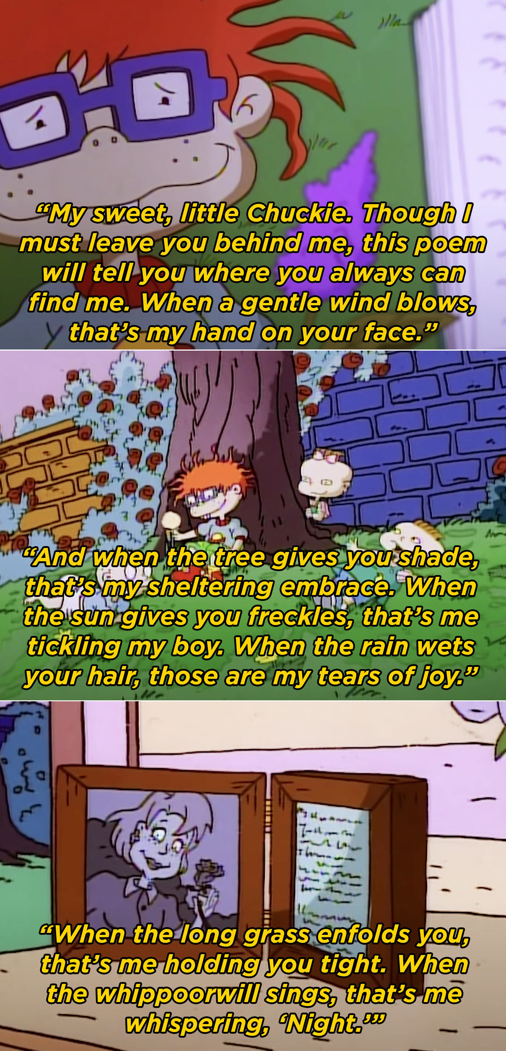Chuckie's mom's poem saying that she will always be with him