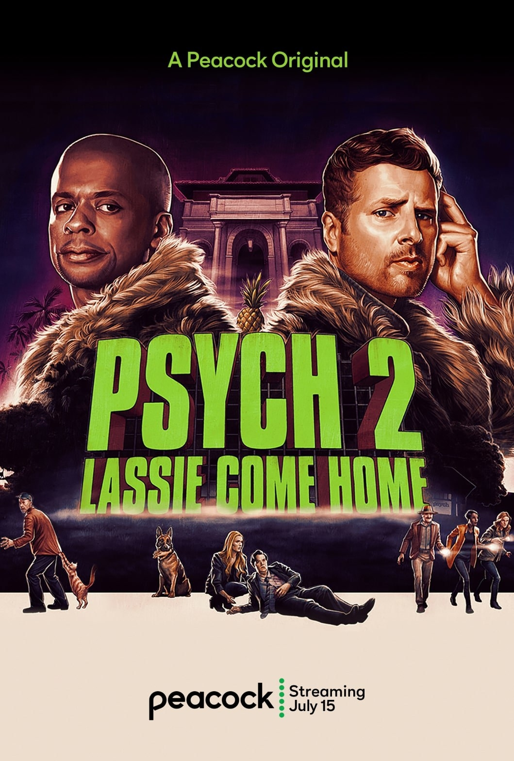 the poster for psych 2 lassie come home with an array of characters on it