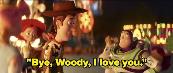 "Woody and Buzz say goodbye, with caption ""Bye, Woody, I love you."""