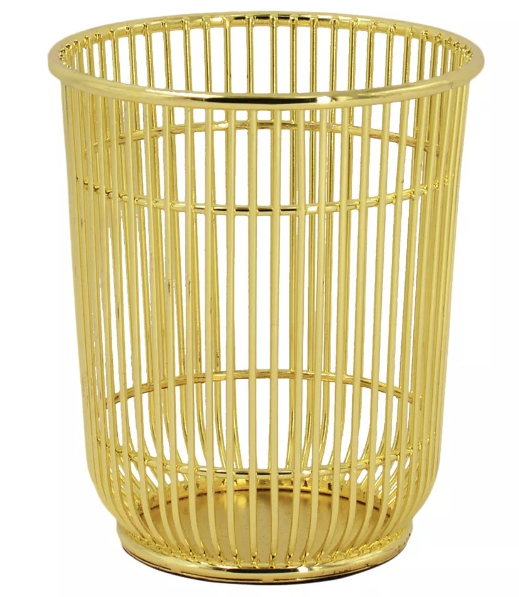 Wire gold pencil cup