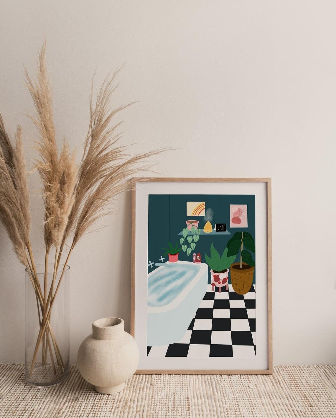 Bathroom illustration with grid tile, plants, and a big bath tub