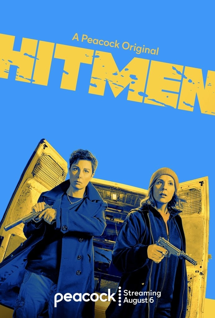the poster fo rhitmen showing the two women coming out of the back of a truck with guns